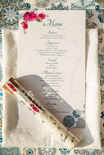 Mediterranean Pattern wedding Stationary Menu card
