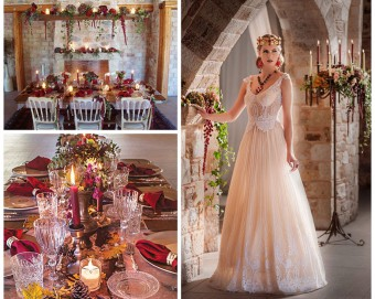 Winter warm tones medieval inspired bridal look art de la table