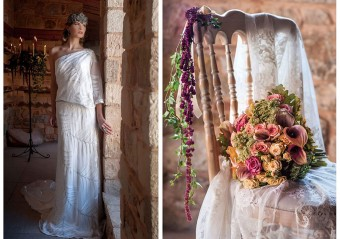 Winter warm tones medieval inspired bridal look wedding bouquet