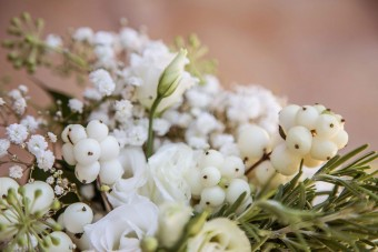 White and greenery flower arrangements