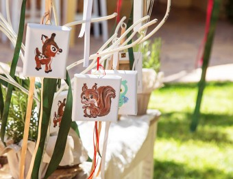 My forest friends Christening hand-painted mini canvas favors