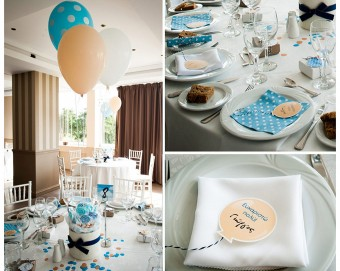 Up Up and Away baby boy Christening party decoration