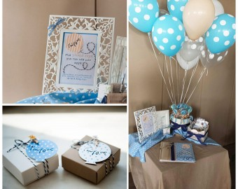 Up Up and Away baby boy Christening guestbook