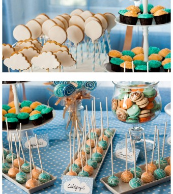 Up Up and Away baby boy Christening party dessert table