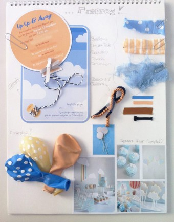 Up Up and Away baby boy Christening mood-board