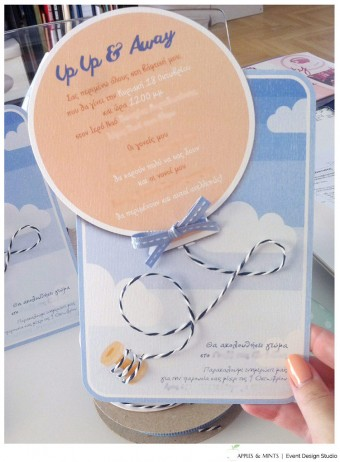 Up Up and Away baby boy Christening invitation