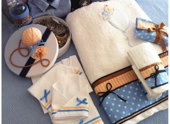 Up Up and Away baby boy Christening handmade towels and matching accessories