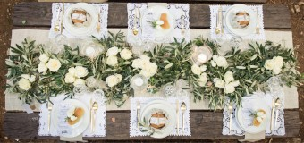 Garden roses Greenery table setting