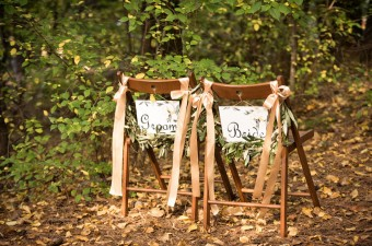 Winter Wedding bride and groom hand-painted chair signs