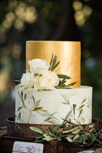 Hand-painted wedding cake olive leaves Austin roses