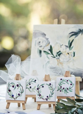 Hand-painted mini canvas Wedding favors