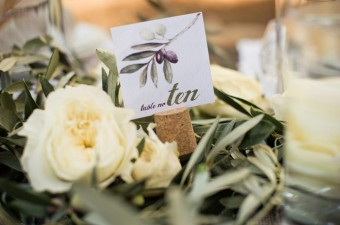 Olive leaf Wedding table number