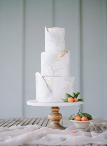 Deckle Edge marble gold cake