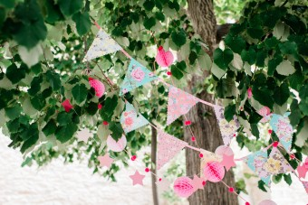 Colorful paper garlands