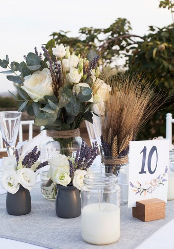 Lavender Wheat Wedding in Greece Centerpiece