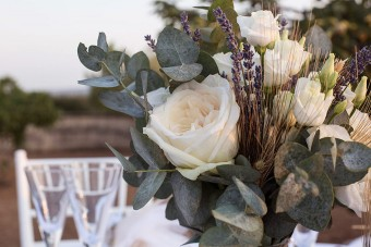 Lavender Wheat Roses Wedding centerpiece bouquet