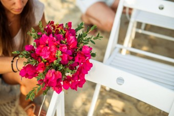 Mediterranean Pattern Wedding in Greece bouquet