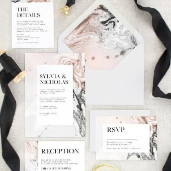 Pink marble stationery suite