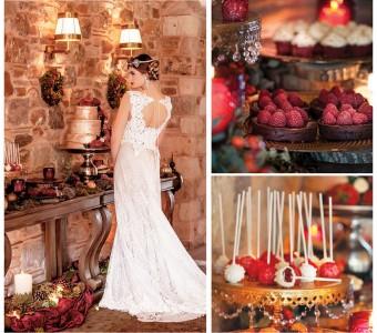 Bridal look dessert bar winter celebration