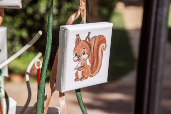 My forest friends Christening hand-painted mini canvas favor