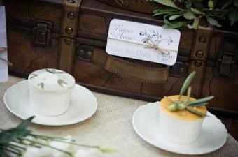 Hand-painted wedding mini cakes olive leaves Austin roses