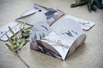 Winter wedding olive leaves and Austin roses stationery