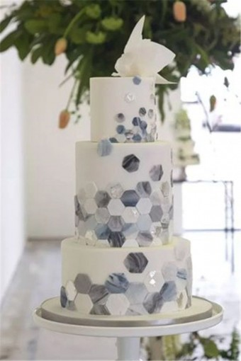 Marble hexagonal Wedding cake